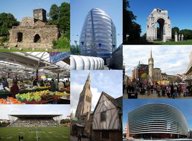 Leicester landmarks: (clockwise from top-left) Jewry Wall, National Space Centre, Leicester War Memorial, وسط ليستر, Curve theatre, Leicester Cathedral and Guildhall, Welford Road Stadium, Leicester Market