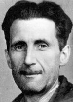 Anarcho-syndicalist Rudolf Rocker (left) and English democratic socialist George Orwell (right) were both influences on the young Chomsky.