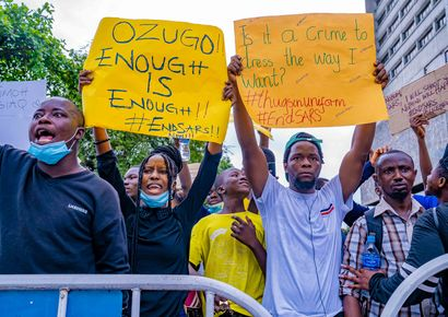 Protest against the extrajudicial killings by SARS in Nigeria.jpg