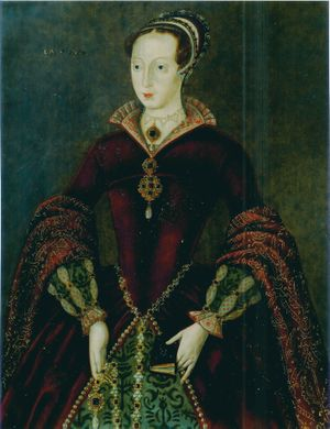A stiff Elizabethan-style three-quarter portrait of Lady Jane Grey wearing elaborate formal dress and holding a prayer book. She is a tall, pale, rather horsey-faced young woman.
