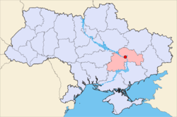 Map of Ukraine with Dnipropetrovsk highlighted.