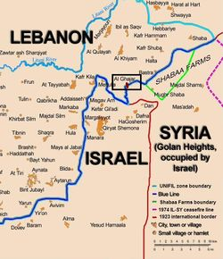Ghajar shown highlighted straddling the Blue Line between Lebanon and Syria