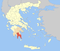 Laconia within Greece