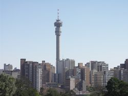 Skyline of Johannesburg featuring the Hillbrow Tower and Ponte City Apartments