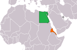 Map indicating locations of Egypt and Eritrea