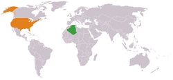 Map indicating locations of Algeria and USA
