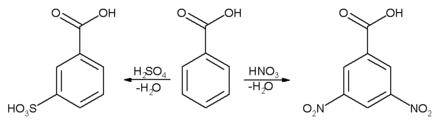 تفاعلات الحلقة العطرية لحمض البنزويك