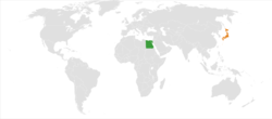Map indicating locations of Egypt and Jordan