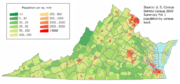 A map of Virginia with areas colored in green for low population changing to red for areas of high population. The most red areas are in the very north of the state, the center of the state, and the very south-east of the state. The rest is mostly green.