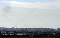 A rocket fired from a civilian area in Gaza towards civilian areas in Southern Israel.jpg