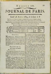 "Yellowed magazine cover containing mostly print that is too small to read. Near the top is ""JOURNAL DE PARIS."""