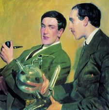 Kapitsa (left) and Nikolay Semyonov, portrait  by Boris Kustodiev 1921