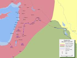 خريطة تفضيلية لمسار جيش خالد بن الوليد أثناء فتح بلاد الشام