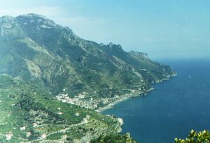 View of the coast of Amalfi from the mountainside