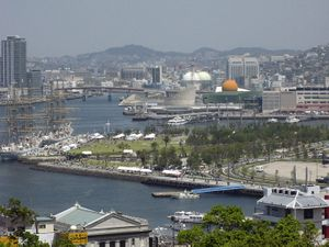 Nagasaki's vibrant waterfront features events like visits from sailing ships