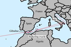 Diagram of the route which would be taken by nuclear bomb-carrying B-52s to enemy countries. It follows the Mediterranean Sea, passing over Italy, before turning north over the Adriatic Sea.