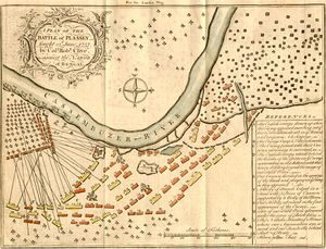 A plan depicting the positions and movements of the opposing armies in the Battle of Plassey