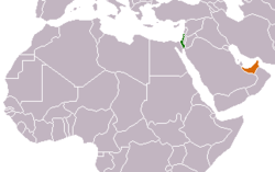 Map indicating locations of Israel and United Arab Emirates