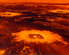 Impact craters on the surface of Venus (image reconstructed from radar data)