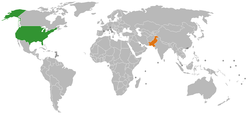 Map indicating locations of United States and Pakistan