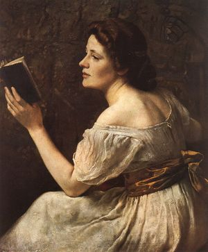 Portrait of a girl reading a book with her shoulder and back exposed painted in a brown palette.