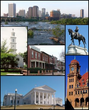 Top: Skyline above the falls of the James River Middle: St. John's Episcopal Church, Jackson Ward, Monument Avenue. Bottom: Virginia State Capitol, Main Street Station