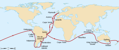 Route from Plymouth, England, south to Cape Verde then southwest across the Atlantic to Bahia, Brazil, south to Rio de Janeiro, Montevideo, the Falkland Islands, round the tip of South America then north to Valparaiso and Callao. Northwest to the Galapagos Islands before sailing west across the Pacific to New Zealand, Sydney, Hobart in Tasmania, and King George's Sound in Western Australia. Northwest to the Keeling Islands, southwest to Mauritius and Cape Town, then northwest to Bahia and northeast back to Plymouth.