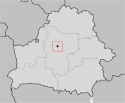 Location of Minsk, shown within the Minsk Voblast