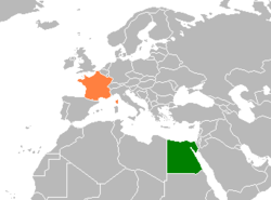 Map indicating locations of France and Egypt