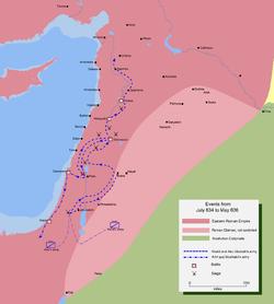 خريطة جغرافية مفصلة لمسار جيش خالد بن الوليد لفتح وسط سوريا