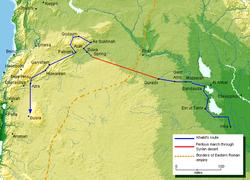 خريطة جغرافية مفصلة لمسار جيش خالد بن الوليد لفتح سوريا