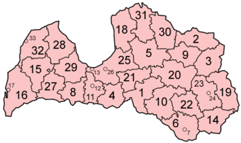 Map of the districts of Latvia in alphabetical order.