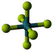 A molecule diagram, with a blue sphere being connected with a stick to 6 yellow-green ones to form an octahedron