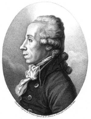 Oval black and white engraving of a man looking left with a scarf and a coat with large buttons.