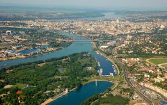 Aerial view of Belgrade and its rivers