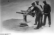 Retractable 7.5 cm submarine gun produced by the Krupp company circa 1900