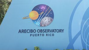 Arecibo Observatory, sign at entrance gate.jpg