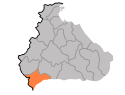Location of ناحية چوروون