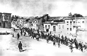 Armenians marched by Turkish soldiers, 1915.png