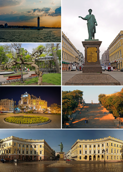 Counterclockwise: monument to Duke de Richelieu, Vorontsov Lighthouse, city garden, Opera and Ballet Theatre, Potemkin Stairs, Square de Richelieu