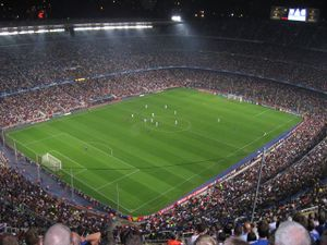 an elevated view of the stadium at night