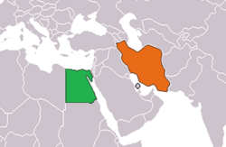 Map indicating locations of Egypt and Iran