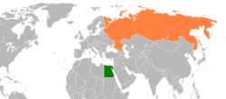 Map indicating locations of Egypt and Russia