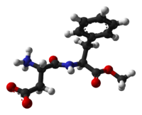 Ball-and-stick model of aspartame