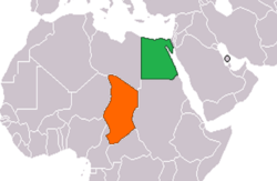 Map indicating locations of Egypt and Chad