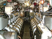 The diesel engines on HMS Ocelot charged the batteries located beneath the decking.