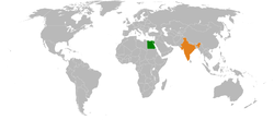 Map indicating locations of India and Egypt