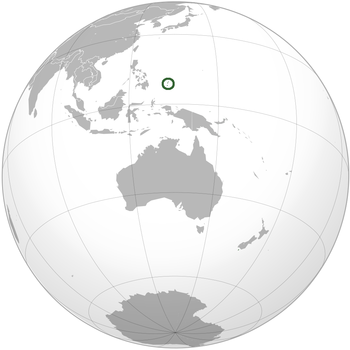 Palau is marked in green and in turn circled in green for better identification.