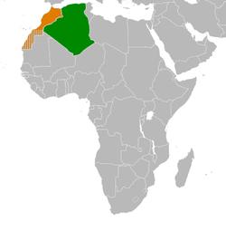 خريطة توضح موقع Algeria وMorocco