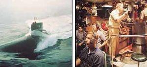 غواصة هجومية صممت خصيصًا للبحث عن سفن الأعداء وتدميرها أثناء الحرب. زودت كثير من الغواصات الهجومية بمحركات نووية وتحمل قذائف الطوربيد والصواريخ. ويستخدم طاقم الغواصة أجهزة مثل البريسكوب (منظار الأفق) والرادار لتحديد مواقع سفن العدو على سطح المياه.